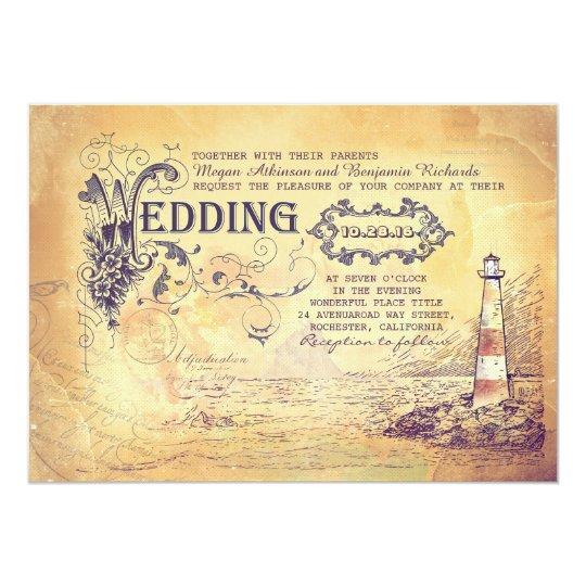 Old vintage lighthouse nautical wedding invites   Zazzle.com