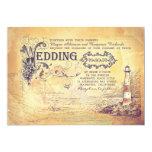 "Old vintage lighthouse nautical wedding invites 5"" x 7"" invitation card"