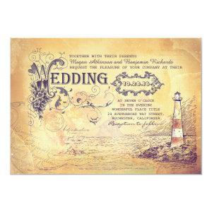 Old vintage lighthouse nautical wedding invites 5