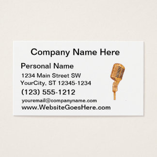 Old Vintage Microphone Scratched Faded Brown Business Card