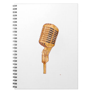 Old Vintage Microphone Scratched Faded Brown Notebook
