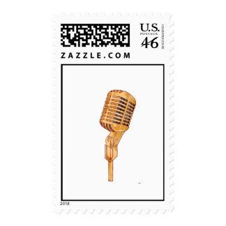 Old Vintage Microphone Scratched Faded Brown Postage Stamp