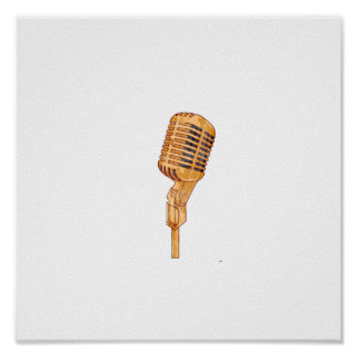 Old Vintage Microphone Scratched Faded Brown Poster