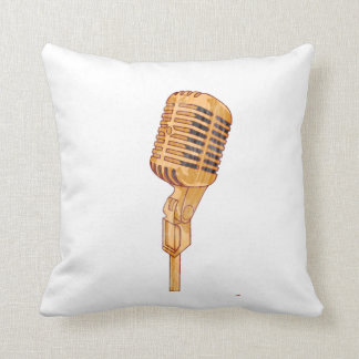 Old Vintage Microphone Scratched Faded Brown Throw Pillow