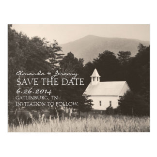 Old Vintage Mountain Church Save the Date Postcard