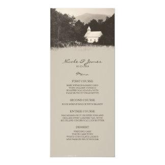 Old Vintage Mountain Church Wedding Menu Card