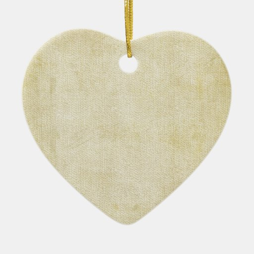 Old Vintage Paper Background Double-Sided Heart Ceramic Christmas Ornament