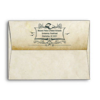 Old vintage paper envelopes with seashells address