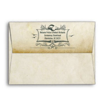 Beach Themed Old vintage paper envelopes with seashells address