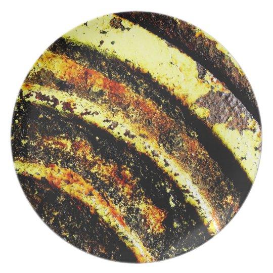 old vintage paper rusty brown art burn smoke Abstr Dinner Plate