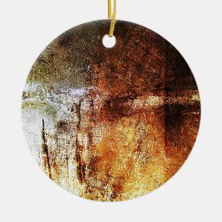 old vintage paper rusty brown art burn smoke Abstr Christmas Ornament