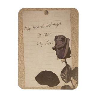 Old Vintage Rose Love Note Magnet