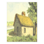 [ Thumbnail: Old, Vintage, Rustic Cottage With a Thatched Roof Invitation ]