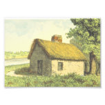 [ Thumbnail: Old, Vintage, Rustic Cottage With a Thatched Roof Photo Print ]