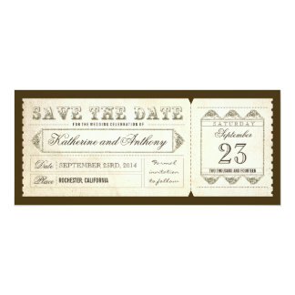 old vintage save the date ticket 4x9.25 paper invitation card