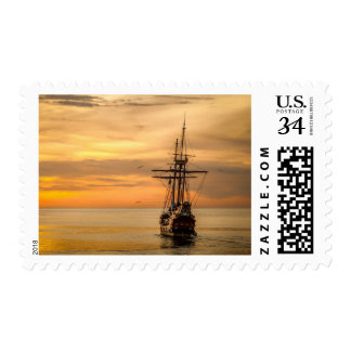 Old Vintage Sea Ship at Sunset Nautical Stamp