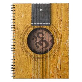 Old Vintage Spiritual Guitar with Om Symbol Notebook