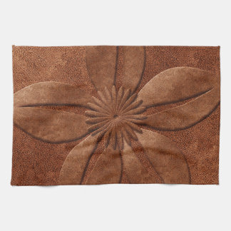 Old Vintage Style Copper Textured Flower Hand Towel