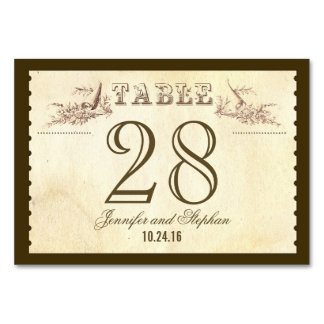 Old vintage style Table Number Card Place cards