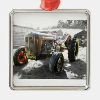 Old Vintage Tractor farm machinery Metal Ornament