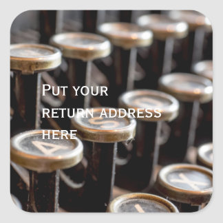 Old Vintage Typewriter Keys Return Address Sticker