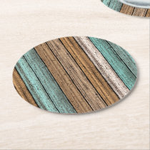 Old Vintage Weathered Wooden Planks Pattern Round Paper Coaster