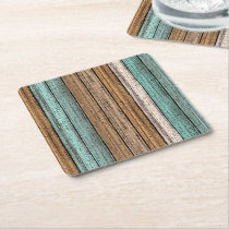 Old Vintage Weathered Wooden Planks Pattern Square Paper Coaster