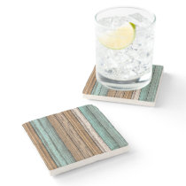 Old Vintage Weathered Wooden Planks Pattern Stone Coaster