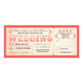 old vintage wedding invitations pink ticket & RSVP
