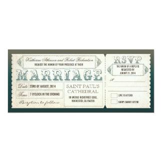 "old vintage wedding invitations - tickets & RSVP 4"" X 9.25"" Invitation Card"