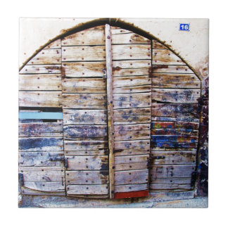 Old Vintage Wooden Greek Door, Crete Greece Ceramic Tile