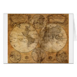 Old Vintage World Map Card