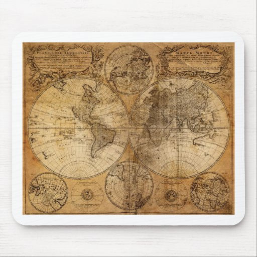 Old Vintage World Map Mouse Pad