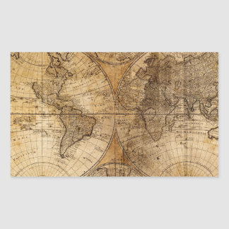 Old Vintage World Map Stickers