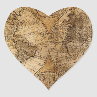 Old Vintage World Map Heart Stickers