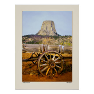 Old Wagon and Devil's Peak - Wyoming Poster