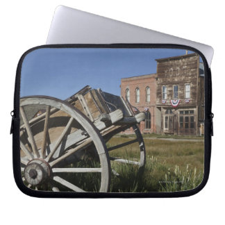 Old wagon and store fronts in Bodie State Laptop Sleeve