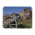 Old wagon and store fronts in Bodie State Magnets