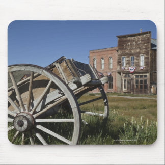 Old wagon and store fronts in Bodie State Mouse Pad
