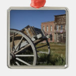 Old wagon and store fronts in Bodie State Christmas Tree Ornaments