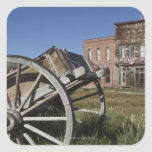 Old wagon and store fronts in Bodie State Stickers