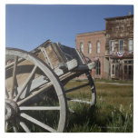 Old wagon and store fronts in Bodie State Large Square Tile