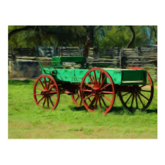 Old Wagon at Sauer-Beckmann Farmstead Postcard