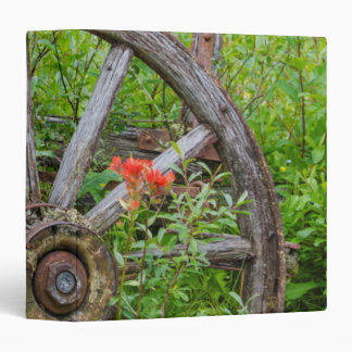 Old wagon wheel in historic old gold town 3 binder