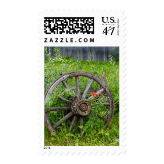 Old wagon wheel in historic old gold town 3 postage