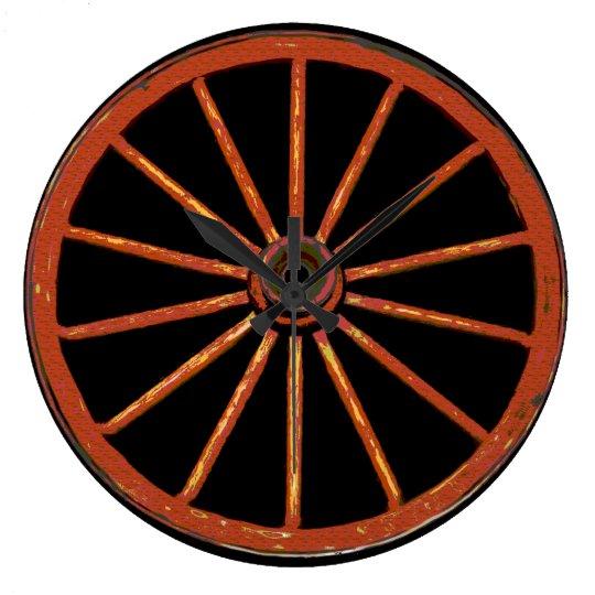 Old Wagon Wheel Large Clock