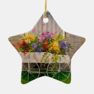 Old wagon with flowers ceramic ornament