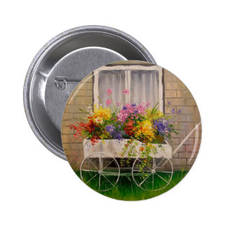 Old wagon with flowers pinback button