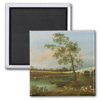 Old Walton's Bridge, 1755 (oil on canvas) 2 Inch Square Magnet
