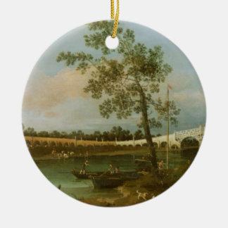 Old Walton's Bridge, 1755 (oil on canvas) Ceramic Ornament